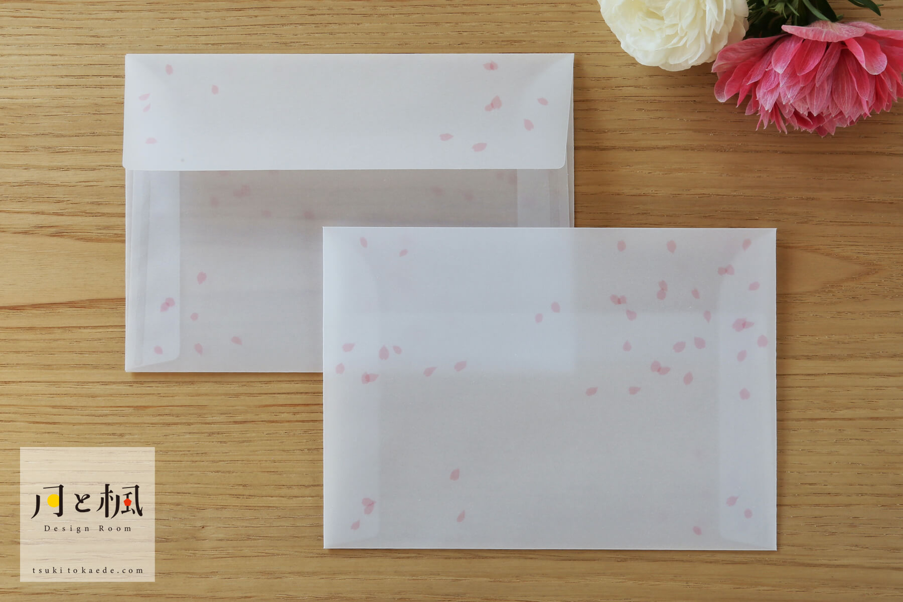 洋2封筒 桜吹雪